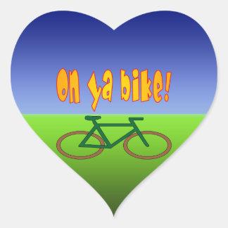 On Ya Bike! Cycling Go Green Zero Emissions Heart Sticker