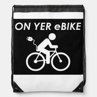 """""""On yer eBike"""" custom drawstring bags"""