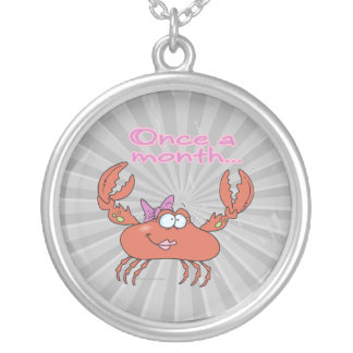 once a month crabby crab girl silver plated necklace