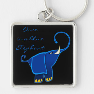 Once in a blue Elephant Silver-Colored Square Key Ring