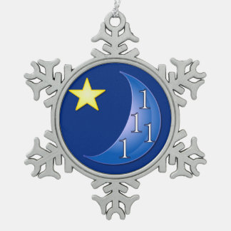 Once in a Blue Moon Snowflake Pewter Christmas Ornament