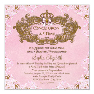 Once Upon a Time Princess Birthday 13 Cm X 13 Cm Square Invitation Card