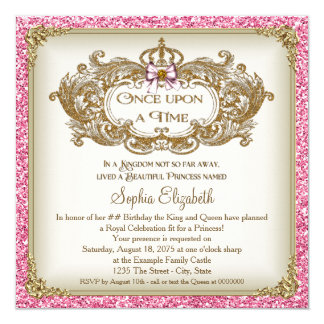 Once Upon a Time Princess Birthday Party 13 Cm X 13 Cm Square Invitation Card