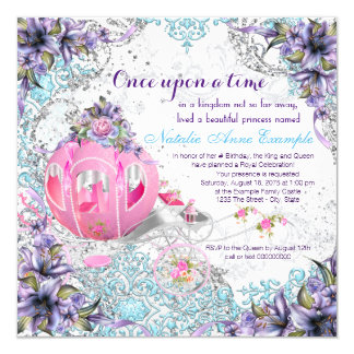 Once Upon a Time Princess Fairy Tale Birthday 13 Cm X 13 Cm Square Invitation Card