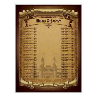 Once Upon a Time Wedding Seating chart Poster