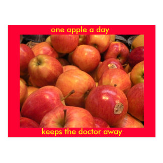 One apple a day, keeps the doctor away postcard