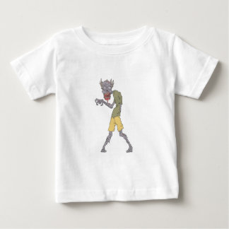 One Arm Creepy Zombie With Rotting Flesh Outlined Baby T-Shirt