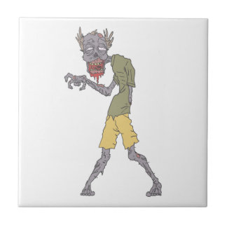 One Arm Creepy Zombie With Rotting Flesh Outlined Ceramic Tile