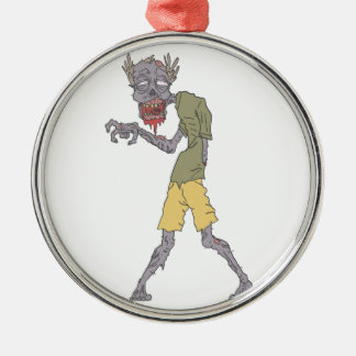One Arm Creepy Zombie With Rotting Flesh Outlined Metal Ornament