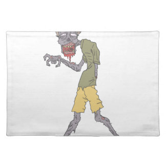 One Arm Creepy Zombie With Rotting Flesh Outlined Placemat