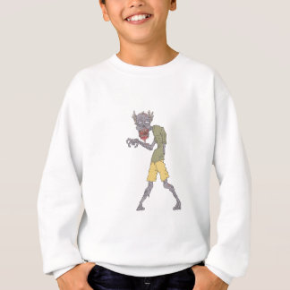One Arm Creepy Zombie With Rotting Flesh Outlined Sweatshirt