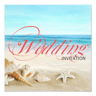 One Beautiful Day on Beach Calligraphy Wedding 13 Cm X 13 Cm Square Invitation Card