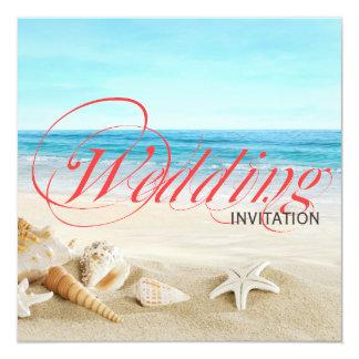 One Beautiful Day on Beach Calligraphy Wedding 13 Cm X 13 Cm Square Invitation Card