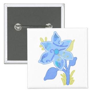 ONE blue flower Pinback Buttons