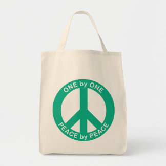 One by One Peace by Peace Grocery Tote
