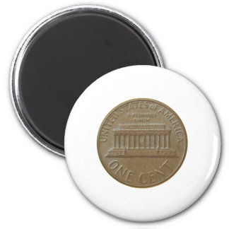 One Cent Coin Isolated Over White Background 6 Cm Round Magnet