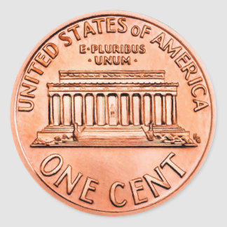 One Cent Penny Classic Round Sticker