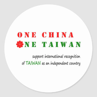 One China; One Taiwan Classic Round Sticker