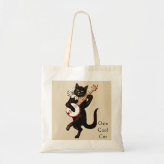"""One Cool Cat"" Playing a Red Banjo Tote Bag"