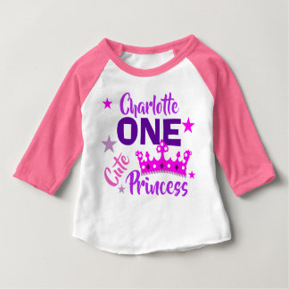 One Cute Princess 1st Birthday Personalized Baby T-Shirt