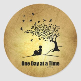One Day at a Time – (1 Day at a Time Female) Round Sticker