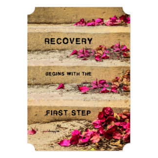 One Day at a Time (Flowers on Steps / Recovery) 13 Cm X 18 Cm Invitation Card