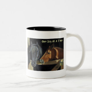 One Day At A Time: Horses in Oil Pastel Two-Tone Coffee Mug