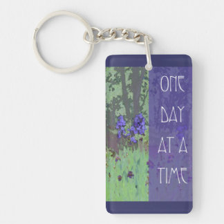 One Day at a Time Irises and Trees Key Ring