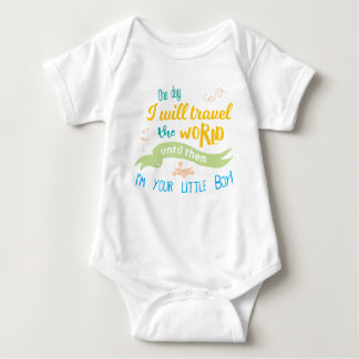 One Day I will Travel the World... (Colorful/Boys) Baby Bodysuit