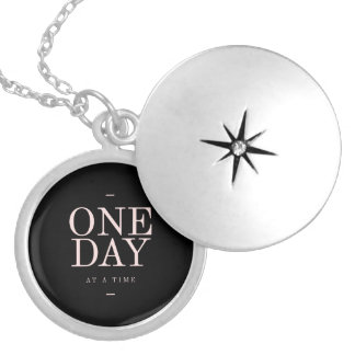 One Day - Inspiring Quotes Black Pink Goals Locket Necklace