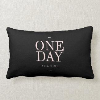 One Day - Inspiring Quotes Black Pink Goals Lumbar Pillow