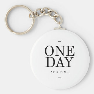 One Day Inspiring Sobriety Quote White Black Key Ring