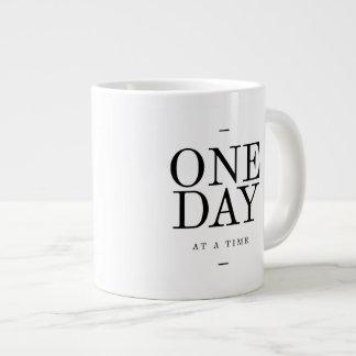 One Day Inspiring Sobriety Quote White Black Large Coffee Mug