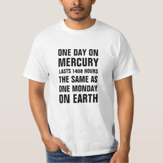 One day on Mercury lasts 1408 hours the same as on T-shirts