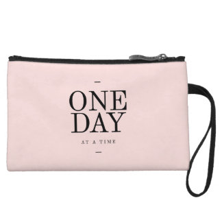 One Day Perseverance Quote Blush Pink Gift Wristlets