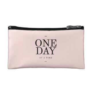 One Day Perseverance Quote Blush Pink Gift Makeup Bag