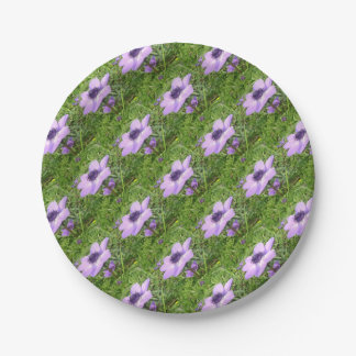 One Delicate Pale Lilac Anemone  Wild Flower Paper Plate