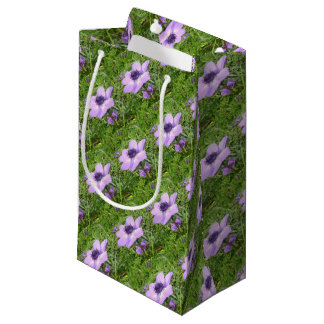 One Delicate Pale Lilac Anemone  Wild Flower Small Gift Bag