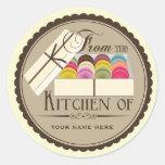 "One Dozen French Macarons ""From The Kitchen Of"" Round Sticker"