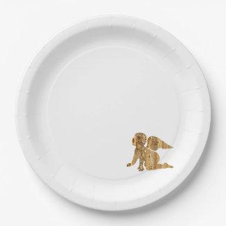 One Elegant Shiny Golden Angel White Paper Plate