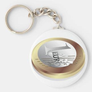 One Euro Coin Keychain