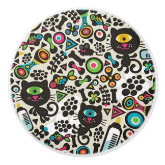 One Eyed Black Cat Ceramic Knob