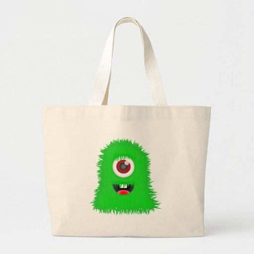 One eyed green monster tote bags