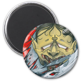 One-Eyed Hannya 6 Cm Round Magnet