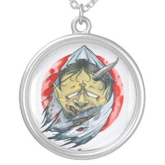 One-Eyed Hannya Round Pendant Necklace