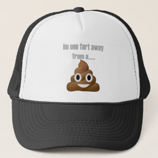 One fart away from poop-emoji - Poo cartoon design Trucker Hat
