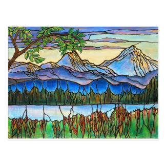 """One Fine Day"" Stained Glass Landscape Art! Postcard"