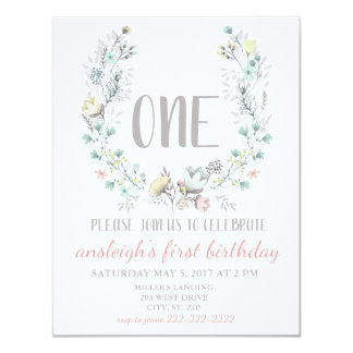 """""""ONE"""" First Birthday Floral Invitation"""
