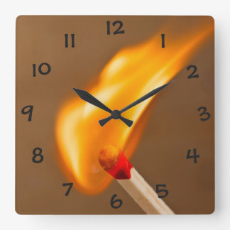 One Flame of Fire Square Wall Clock