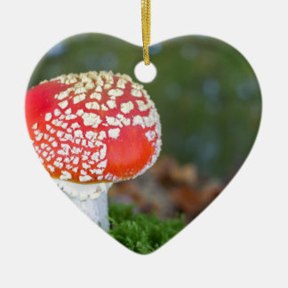 One fly agaric with green moss in fall season ceramic heart decoration